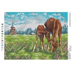 """""""Konie na trawie"""", Art. BK 3159, 27cm.x 36cm."""