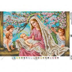 """""""Maryja z Jezusem i aniołkami"""", Art. A3 081, 25cm.x39cm."""